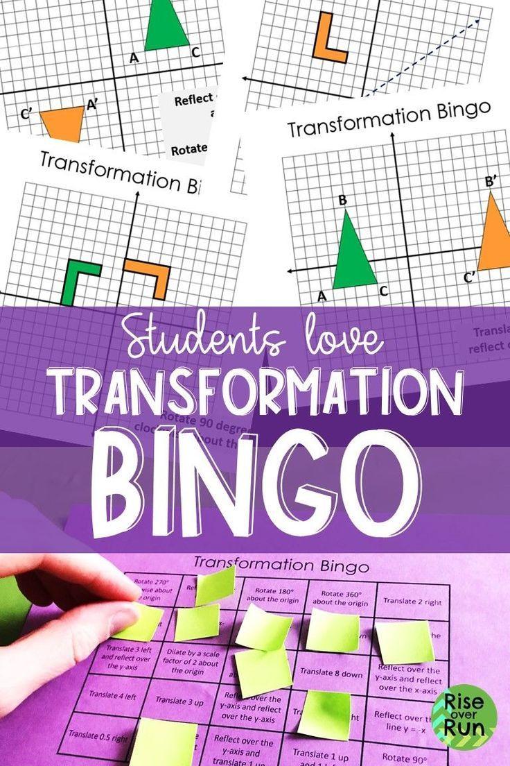 Transformations Bingo Game Transformations Math 8th Grade Math Reflection Math