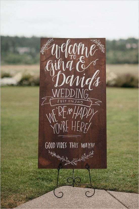 country chic wood wedding sign