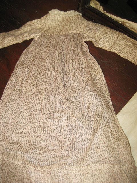 Early Brown and White Doll Dress.................