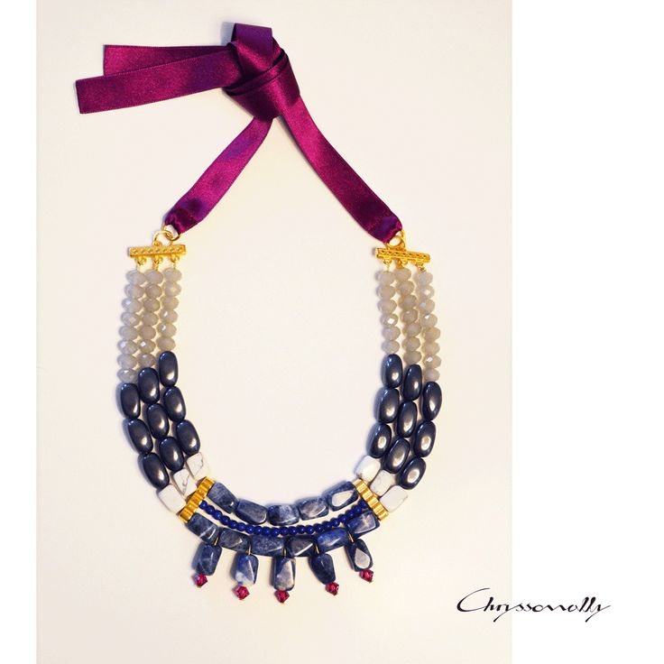 JEWELRY   Chryssomally    Art & Fashion Designer - Unique inspiration statement gold necklace with burgundy, blue, white and grey gemstones and crystals