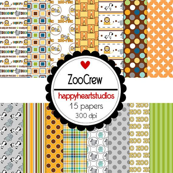 Digital Scrapbooking ZooCrewINSTANT DOWNLOAD by azredhead on Etsy, $1.50