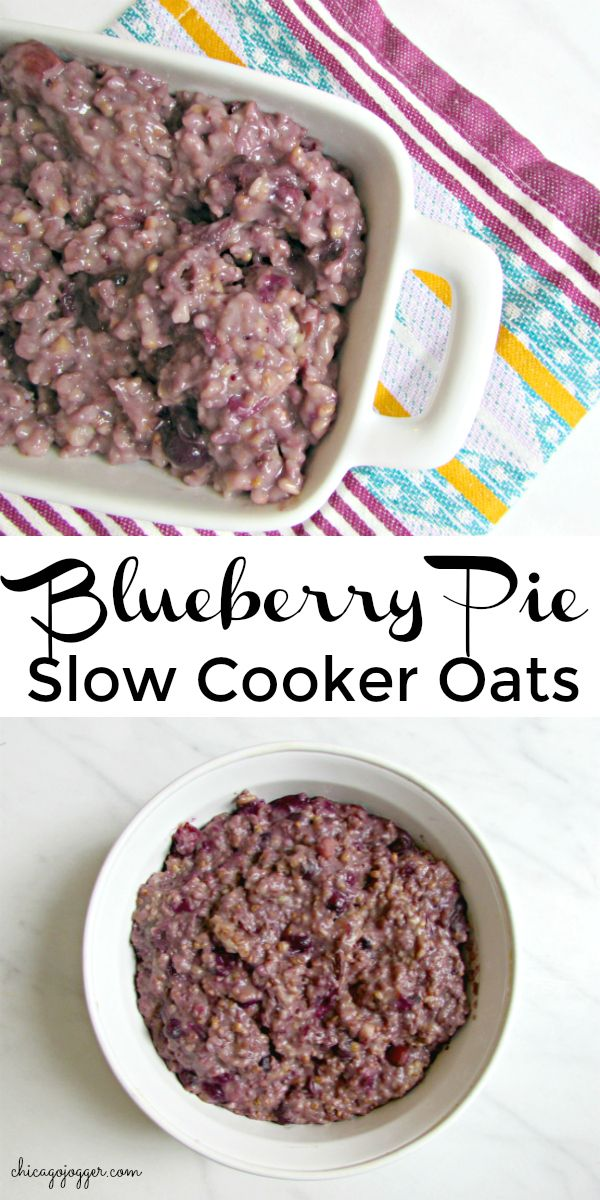 Blueberry Pie Cooker Oats - a delicious, healthy breakfast recipe made in the slow cooker or crockpot | chicagojogger.com
