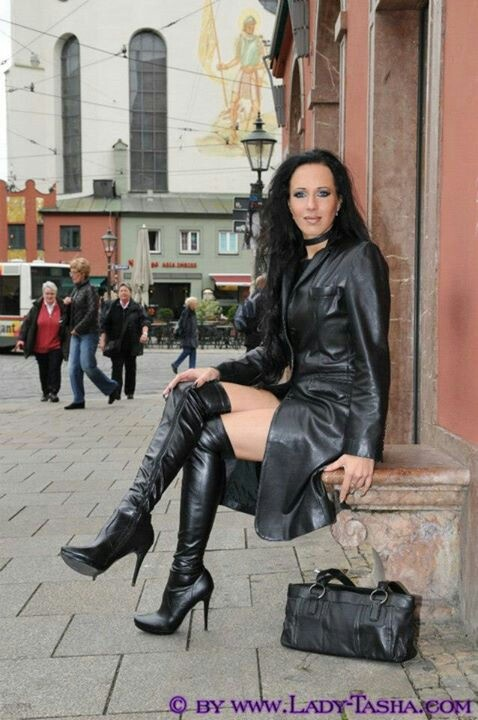 Milf in pvc coat amp leather lace up basque - 3 2