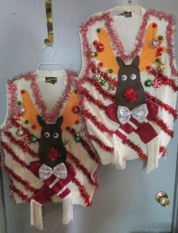 Ugly Christmas matching vests. The fronts with the felt moose and diagonal red fuzzy stripes. tinsel