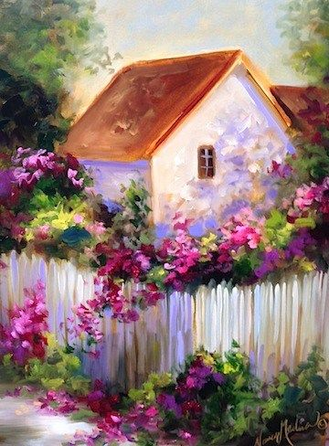 """Daily Paintworks - """"Bougainvillea Cottage Garden a..."""" by Nancy Medina"""