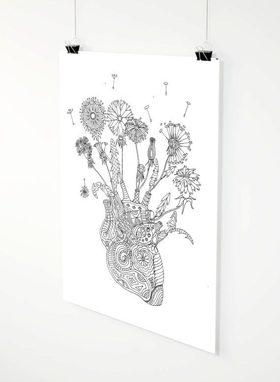 Fragile Heart adult coloring page by ZuskaArt on Etsy