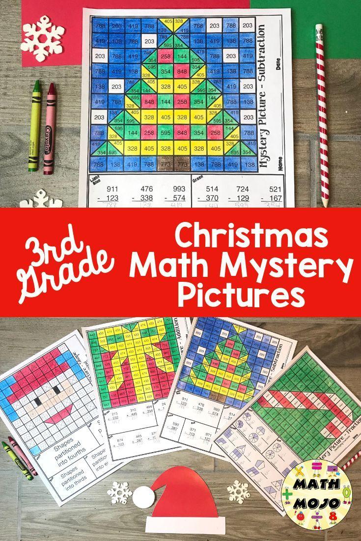 3rd Grade Christmas Math 3rd Grade Math Mystery Pictures Christmas Math Mystery Pictures Math Mystery Picture Christmas Math Activities [ 1102 x 735 Pixel ]