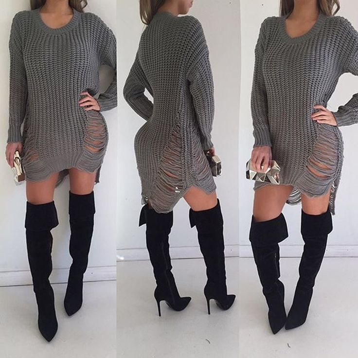 Hollow Out Knitting Irregular Long Sweater Dress
