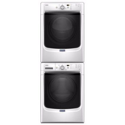 "Save a lot of money at www.DiscountBandit.com. Seriously, check them out; they have the best deals on tons of stuff! Maytag White Front Load Laundry Pair with MHW3505FW 27"" Washer MED3500FW 27"" Electric Dryer and W10298318RP Stacking Kit"