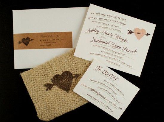 Rustic Whimsical Burlap Wedding Invitations
