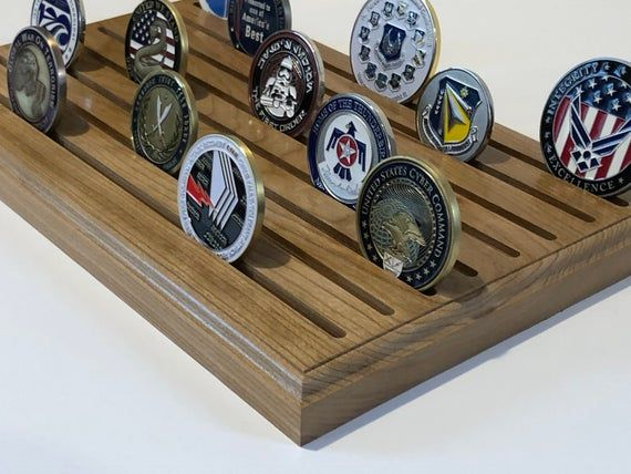 Pin By Marina Guguljanova On Wooden Stand For Medals In 2020 Challenge Coin Display Coin Display Rock Collection Display