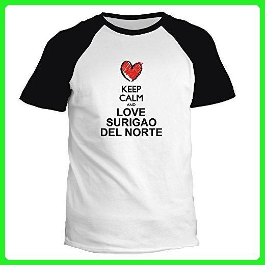 Idakoos - Keep calm and love Surigao Del Norte chalk style - Cities - Raglan T-Shirt - Cities countries flags shirts (*Amazon Partner-Link)