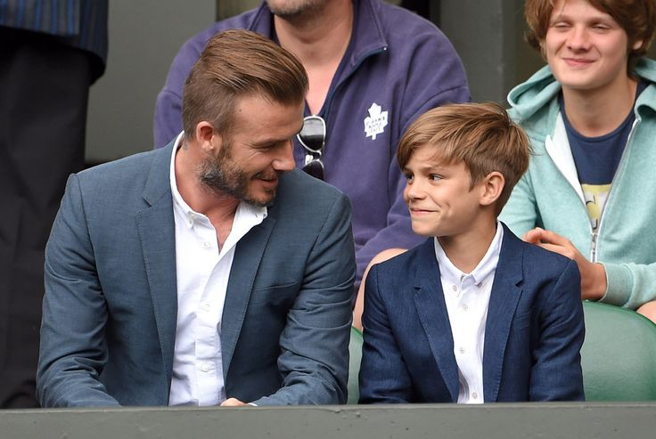 "David Beckham Brings His ""Little Man"" Romeo to a Wimbledon Match: David Beckham had his 12-year-old son, Romeo, by his side while taking in a tennis match at Wimbledon in London on Wednesday."