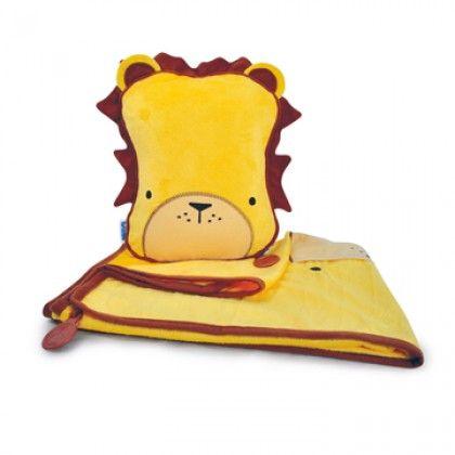 Snoezeldekentje met opblaasbaar kussentje Leeuw -*- Dekentje kan aan het kussen worden vastgemaakt om het niet te verliezen! -*- Verkrijgbaar bij Kiddiefun voor € 29,99