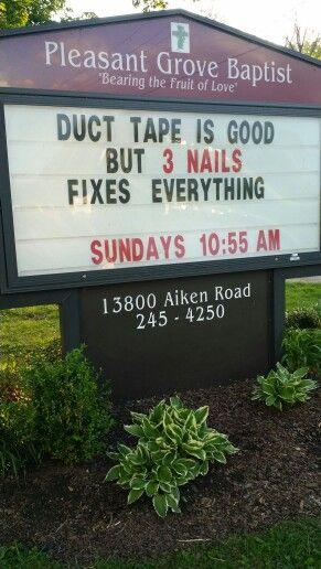 3 nails church sign