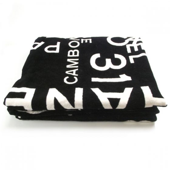 Authentic CHANEL Cotton Beach Towel BlackWhite.   This is a fabulous Chanel beach towel with a bold visually striking design in black and white.