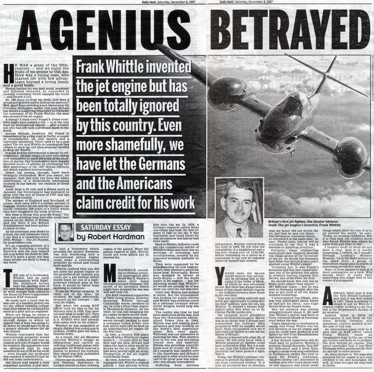 frank whittle jet engine thesis Whittle: the jet pioneer  the story of how sir frank whittle invented the jet engine and shrank the world is one of the great dramas of the 20th century .