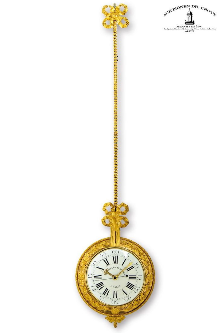"""Ferdinand Berthoud à Paris, Height 1240 mm, circa 1780  A remarkable Louis XVI splendour pendulum wall clock, so called """"Cartel d'applique"""", with centre seconds hand and pin-pallet escapement according to Pouzait - by one of the most prominent French makers - 14 days power reserve Case: ormolu. Dial: enamel, signed """"Valat"""" on the back side. Movm.: brass full plate movement.  This striking clock has the form of a pendulum. The dial sits on the """"bob"""", the movement in the back is concealed."""