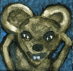 This crazy little mouse is trapped in a mini painting.  Set him free :-) send an ecard