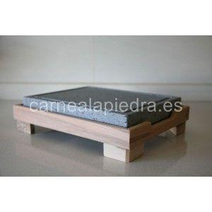 Piedra para asar Volcanica Natural, para asar carne 25x20x3cmcon base de madera