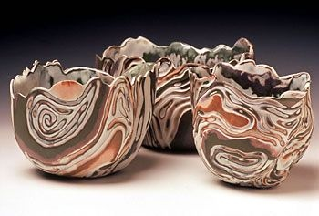 Naomi Lindenfeld, vessels  demonstrating Colored Clay as part of Wesleyan Potters 2 Days/ 4 Potters workshop, August 16 + 17