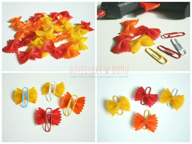 Kolorowe motylki z makaronu