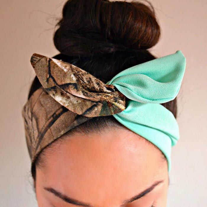 Camo and Mint Dolly Bow Headband