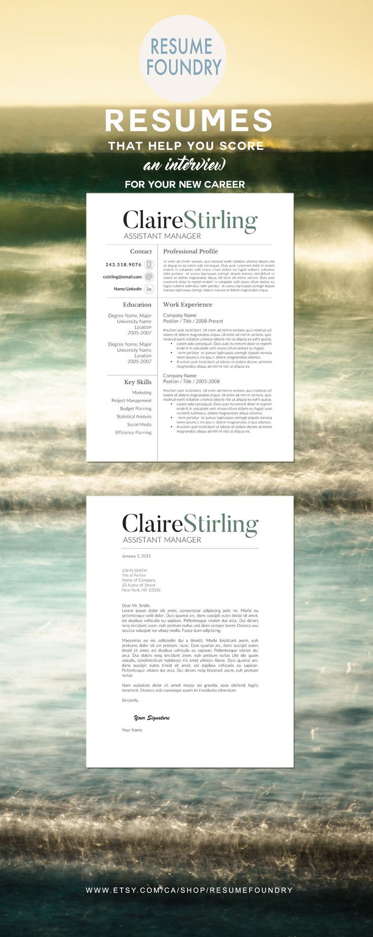 Modern Resume Template for Word 1 3 Page