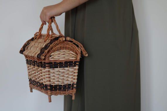 Condessa basket, Wicker Basket, Basket with a Lid, Basket Purse, Jane Birkin Basket Style, made in Portugal.