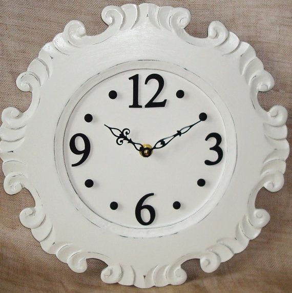 Wall Clock Cream and Black Shabby Chic Wooden No by makingtimetc, $62.00