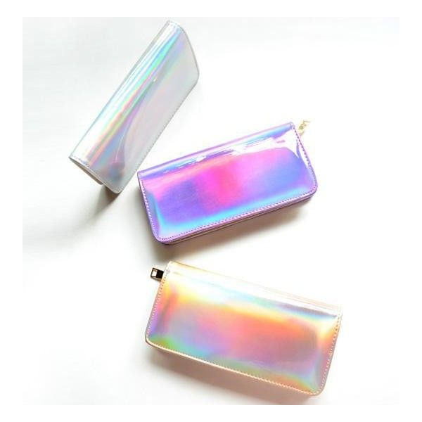 Holographic Wallet ($19) ❤ liked on Polyvore featuring bags, wallets, hologram bag, white wallet, hologram wallet, holographic bag and white bags