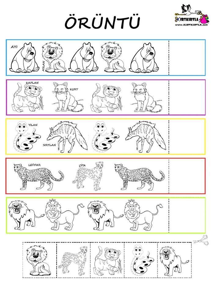 Oruntu Vahsi Hayvanlar Okul Oncesi Yaslar Icin Montessori Yontemi Hayvanlar Egitim