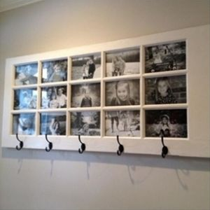 Turn An Old French Door Into A Coat Rack With Family Photo Frames  http://www.homesteadingfreedom.com/turn-an-old-french-door-into-a-coat-rack-with-family-photo-frames/