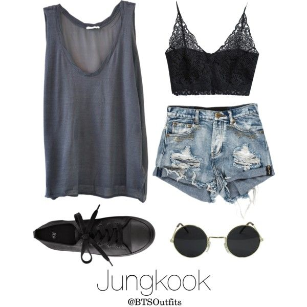 Coachella Date with Jungkook by btsoutfits on Polyvore featuring polyvore, fashion, style, American Vintage, H&M and clothing
