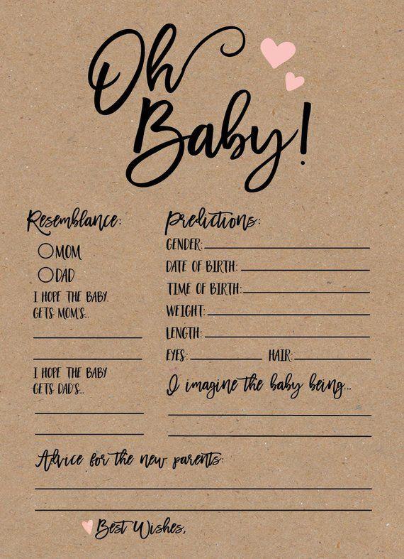 Baby Boy Prediction Card, Baby-Dusche-Spiele auf Party zu spielen, druckbare Baby-Sho …   – Parenting