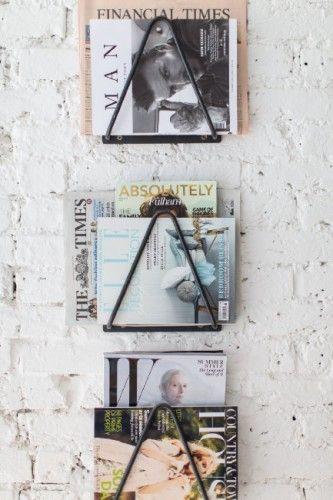 unique-iron magazines holders white café interior