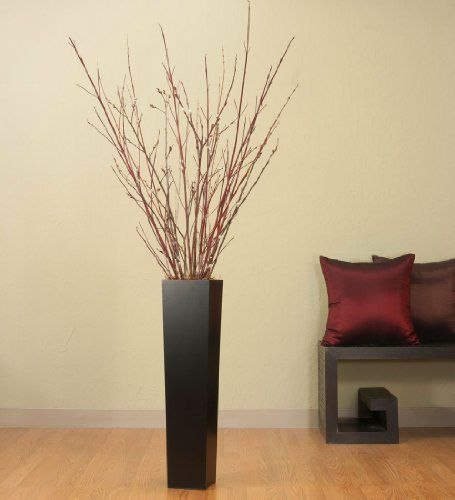 27in Tall Black Floor Vase Red Dogwood Pussy Willow