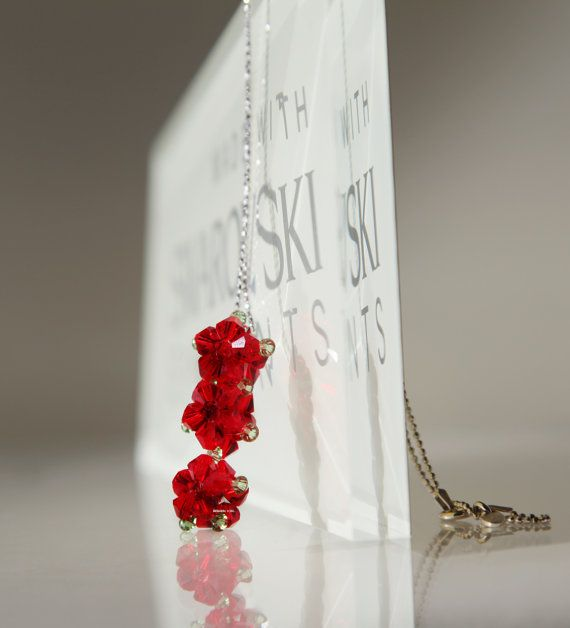 CRYSTAL BEADED BEAD necklace  3 beaded flower by KatherineSongEtsy, $55.00