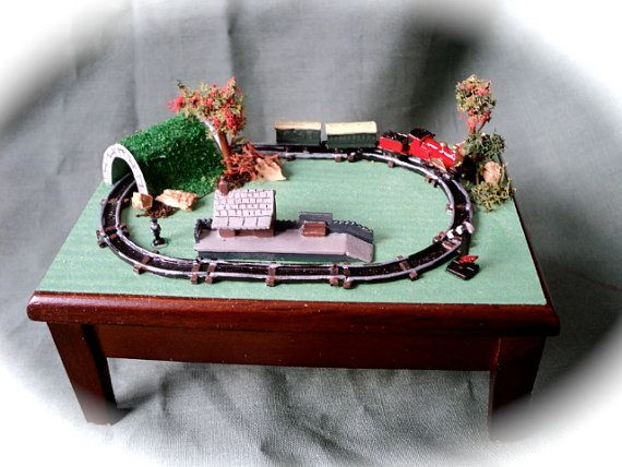 Dolls House Miniatures- Miniature Metal Train Layout set