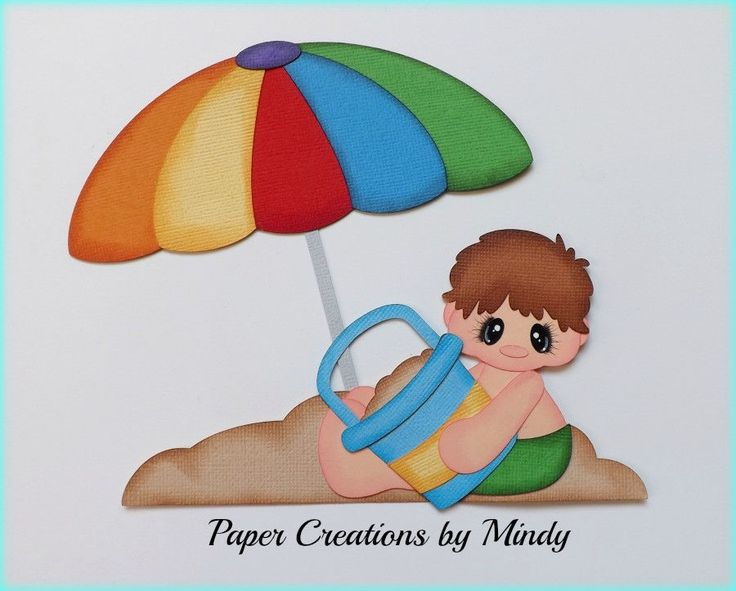 Sand Beach Boy summer premade paper piecing scrapbooking page album border