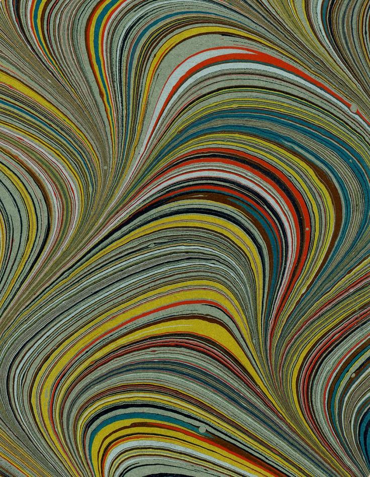 Modern 20th c. marbled paper, Serpentine pattern