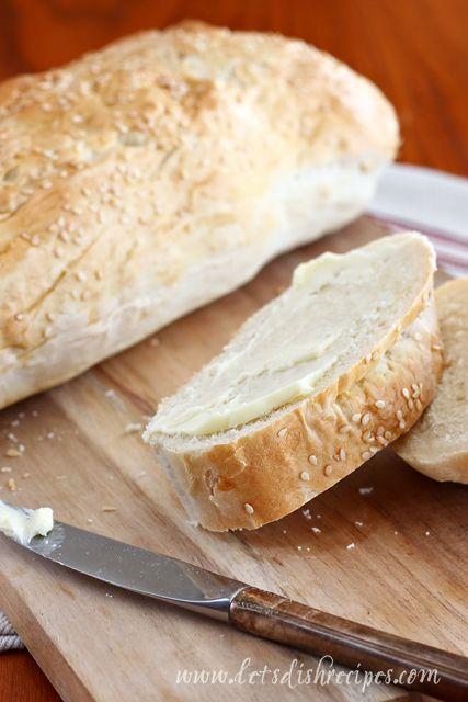 Easy Italian Bread ~ Ingredients:  1 pkg (2+1/4 tsp) active dry yeast, 2 c warm water, 1 tsp sugar, 2 tsp salt, 2 c bread flour, 3+1/2 c AP flour, 1 egg + 2 tsp water, 2 tsp sesame seeds.