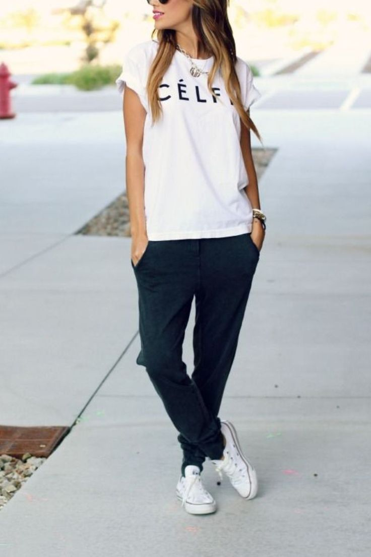 casual tee, sweat pants, white canvas shoes