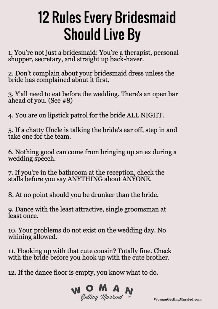 12 Rules EVERY Bridesmaid Should Live By Wedding
