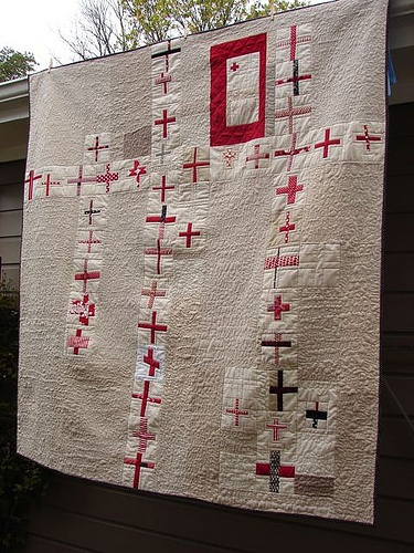 red cross quilt, my dad was in the red cross during wwII and i had no idea how many people collected red cross images!