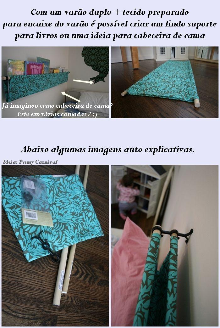 """""""Como fazer cabeceiras de cama com varões de cortina"""". """"suporte para livros"""". """" Faça você mesmo"""". """"Como usar varões de cortinas?"""""""