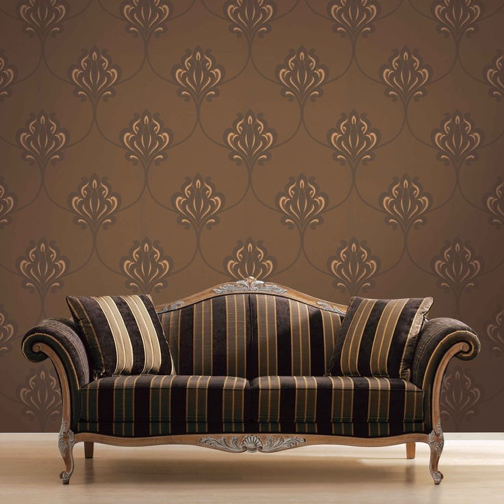 'Art Nouveau Damask' - A new take on an old classic, this large-scale damask is created from a crepe effect ink, which is contrasted by some lustrous metallic grounds.