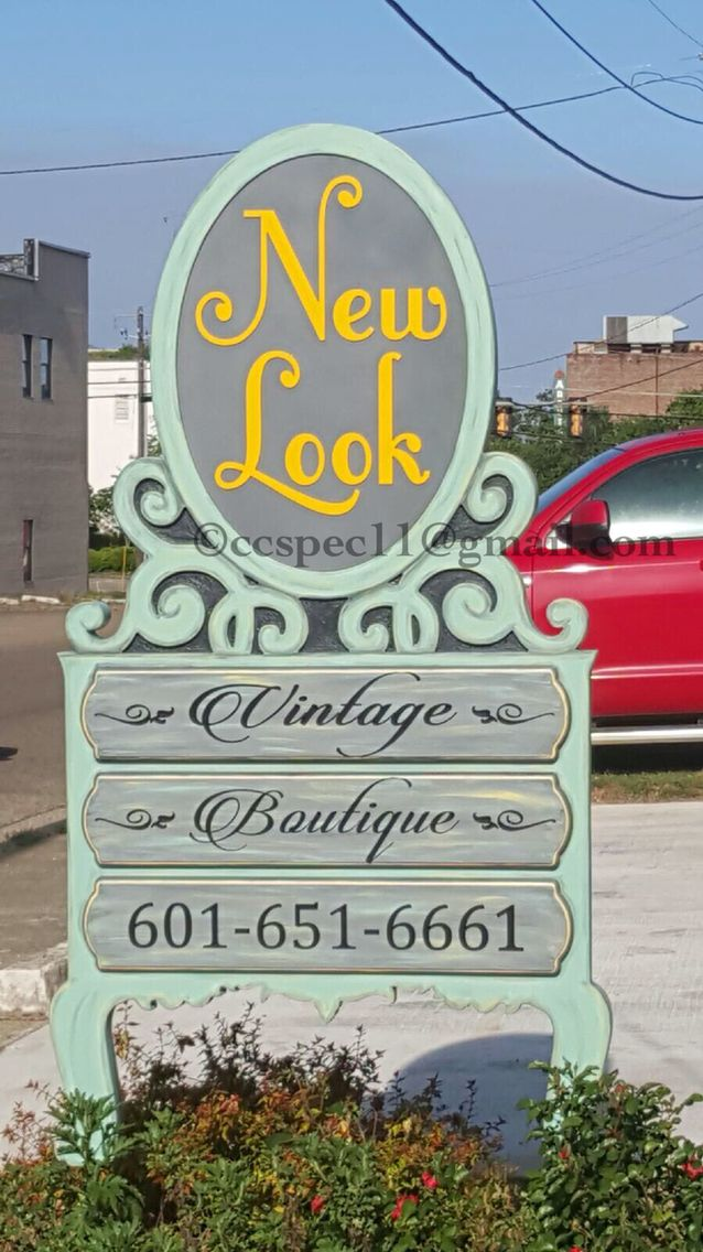 Custom designed & fabricated outdoor sign for antique vintage  shabby chic business in downtown Laurel Mississippi; designed to mimic antique refinished dresser or chest of drawers and mirror set that's been stripped and distressed ...