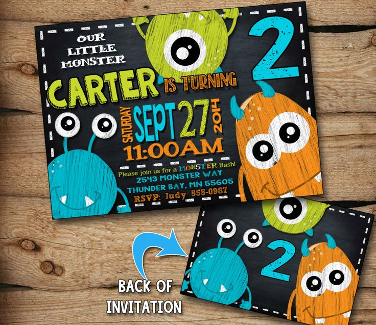 monster birthday invitation, monster invitation, monster party invitation, monster birthday, chalkboard invitation, personalized, printable by JcoInvitations on Etsy https://www.etsy.com/listing/199625773/monster-birthday-invitation-monster
