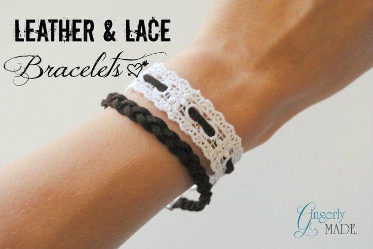 Leather & Lace Bracelets - Gingerly Made